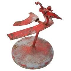"""Vintage Folk Art Red """"Rooster"""" Assemblage Sculpture."""