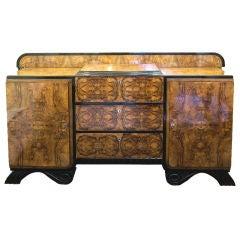 Art Deco Burled Walnut Veneer Sideboard