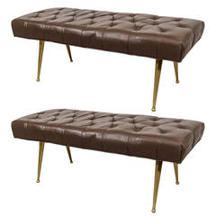 A Midcentury Pair of Italian Chocolate Color Leather Benches