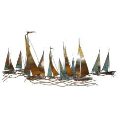 Sailboats Wall Mounted Metal Sculpture by Jere