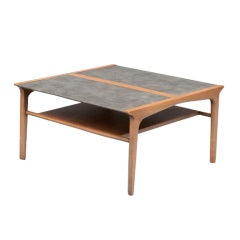 Mid Century Coffee Table by Drexel with Wrapped Leather Top