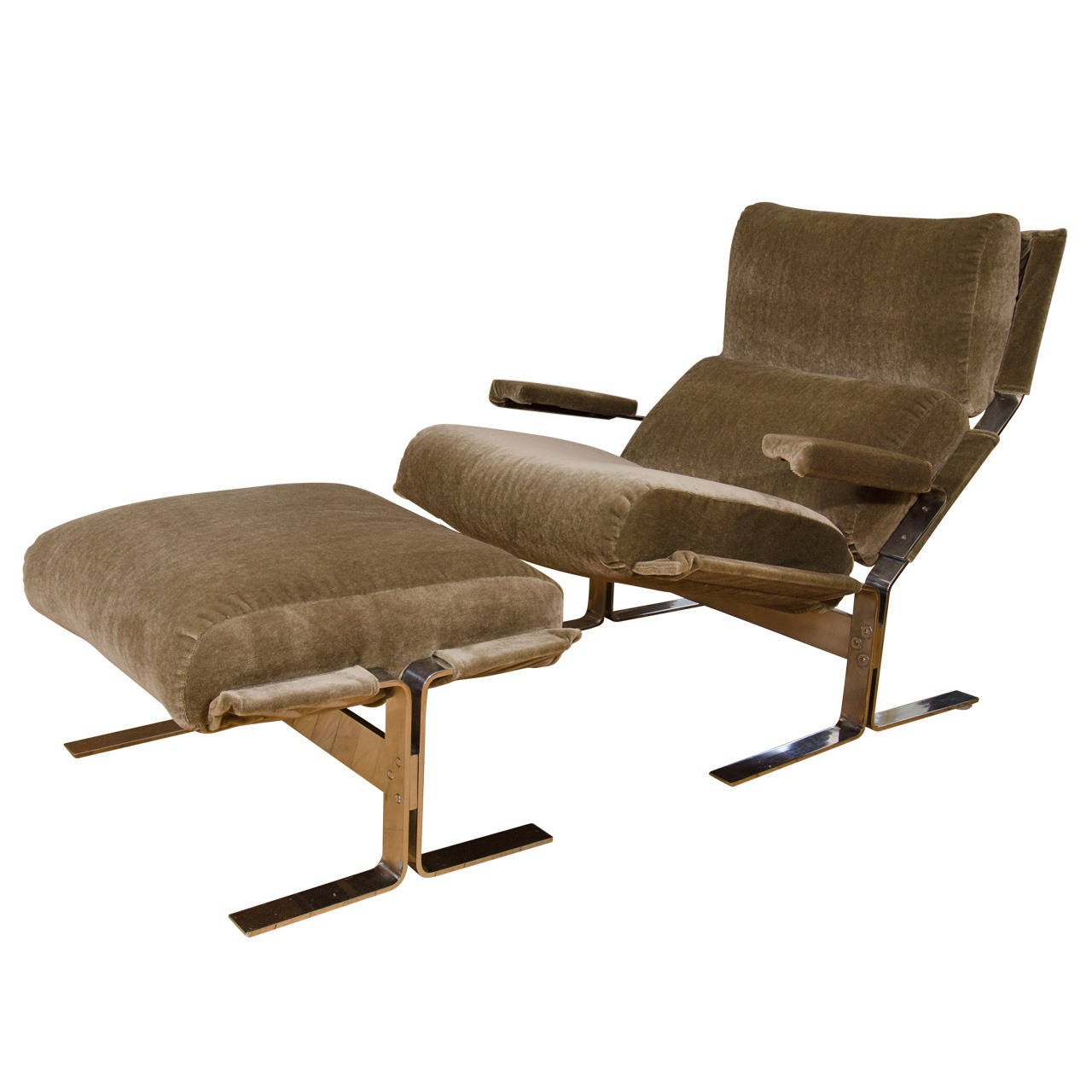 Midcentury saporiti chrome and mohair lounge chair with for Matching lounge furniture