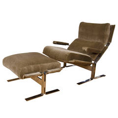 Midcentury Saporiti Chrome and Mohair Lounge Chair with Matching Ottoman