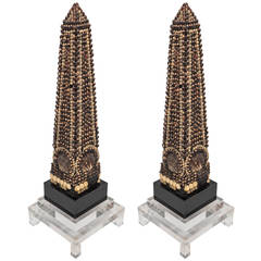 Midcentury Pair of Obelisks Decorated with Seashells
