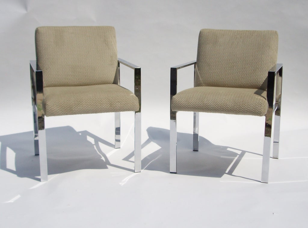 Pair of Mid Century Chrome and Velvet Chairs in the Style of Harvey Probber 2