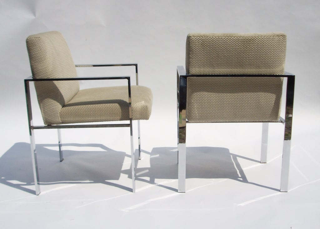Pair of Mid Century Chrome and Velvet Chairs in the Style of Harvey Probber 3