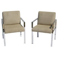 Pair of Mid Century Chrome and Velvet Chairs in the Style of Harvey Probber
