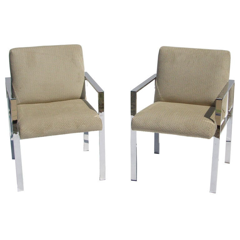 Pair of Mid Century Chrome and Velvet Chairs in the Style of Harvey Probber 1