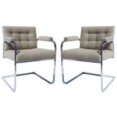 Mid-Century Tufted Chrome Armchairs by Patrician