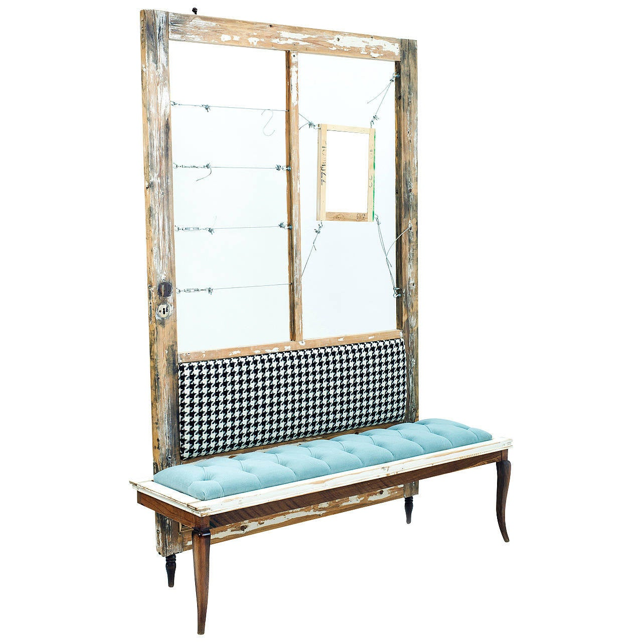 Blue Upholstered Bench With Attached Mirror By Designer Amir Raveh At 1stdibs