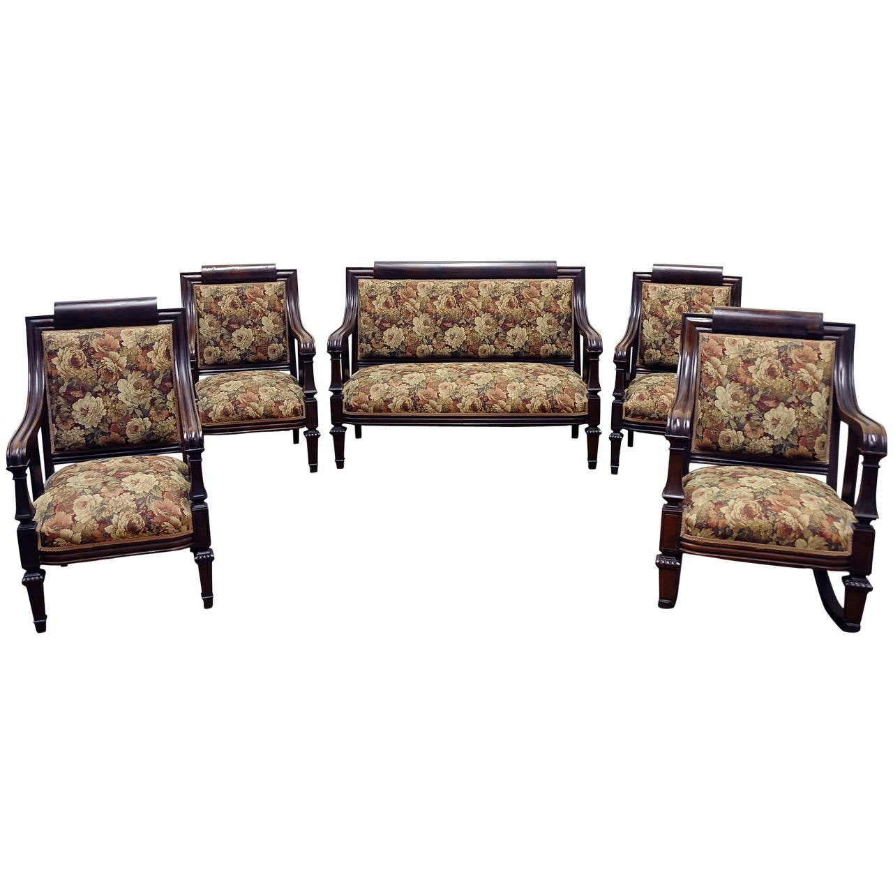 Antique federal mahogany empire style parlor set with - Antique living room furniture sets ...