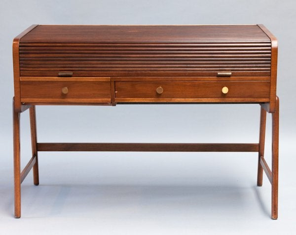 Mid Century Walnut Desk with Tambour Top by Sligh-Lowry 2