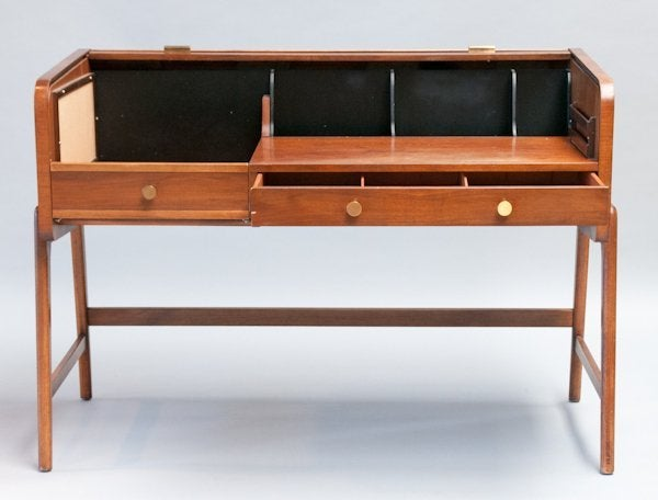 Mid Century Walnut Desk with Tambour Top by Sligh-Lowry 3