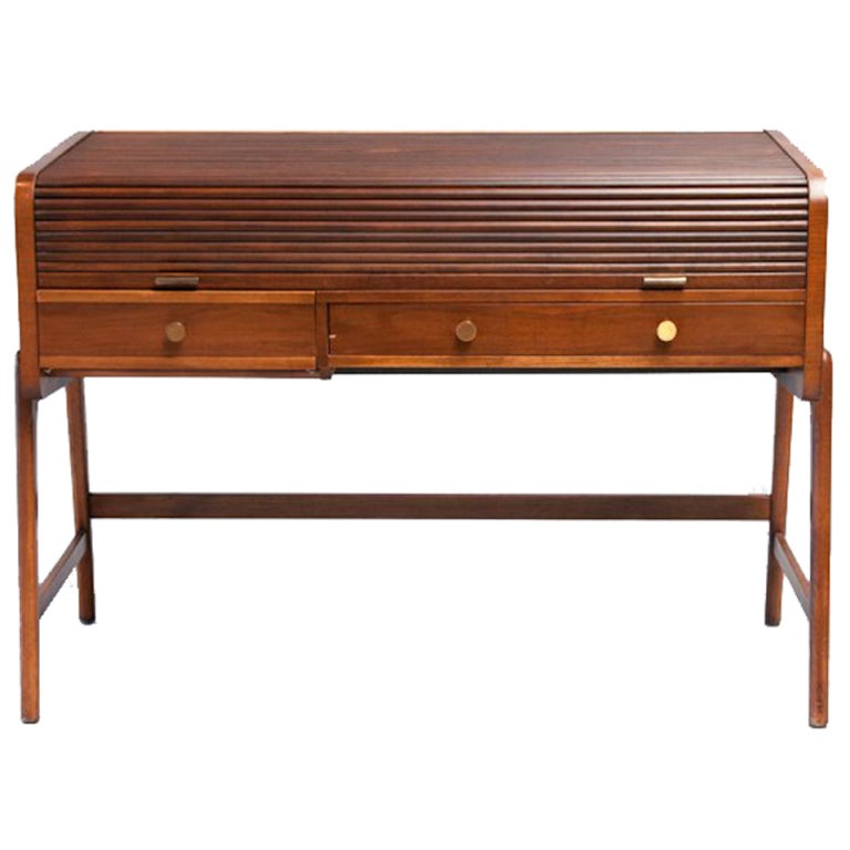 Mid Century Walnut Desk with Tambour Top by Sligh-Lowry 1
