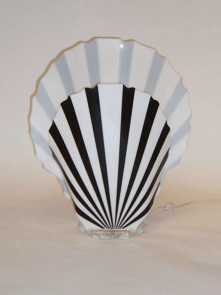 vintage black and white acrylic fan lamp by luminaire at 1stdibs. Black Bedroom Furniture Sets. Home Design Ideas