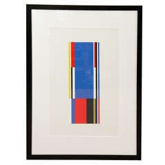 Single Red, Blue, Black and Yellow Silkscreen Print by Jo Niemeyer