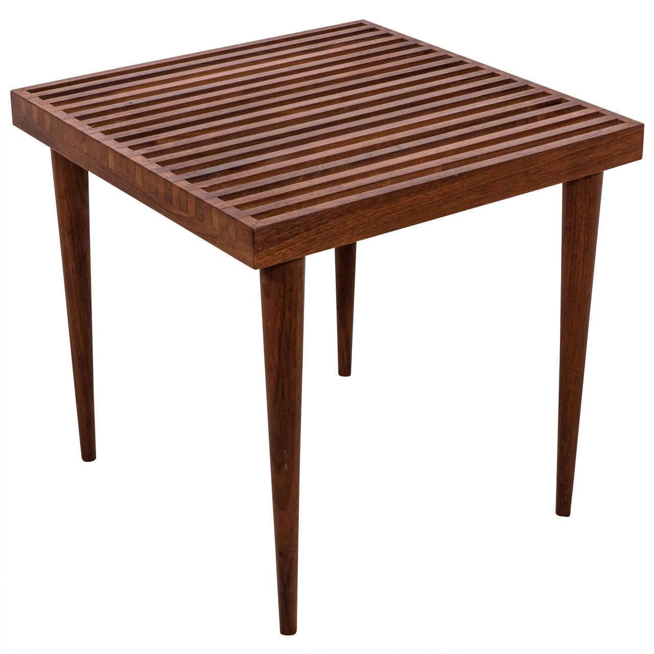 vintage scandinavian modern slat wood side or end table