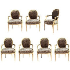 Set of 7 Mid-Century Louis XVI Style Arm Chairs by Maison Jansen