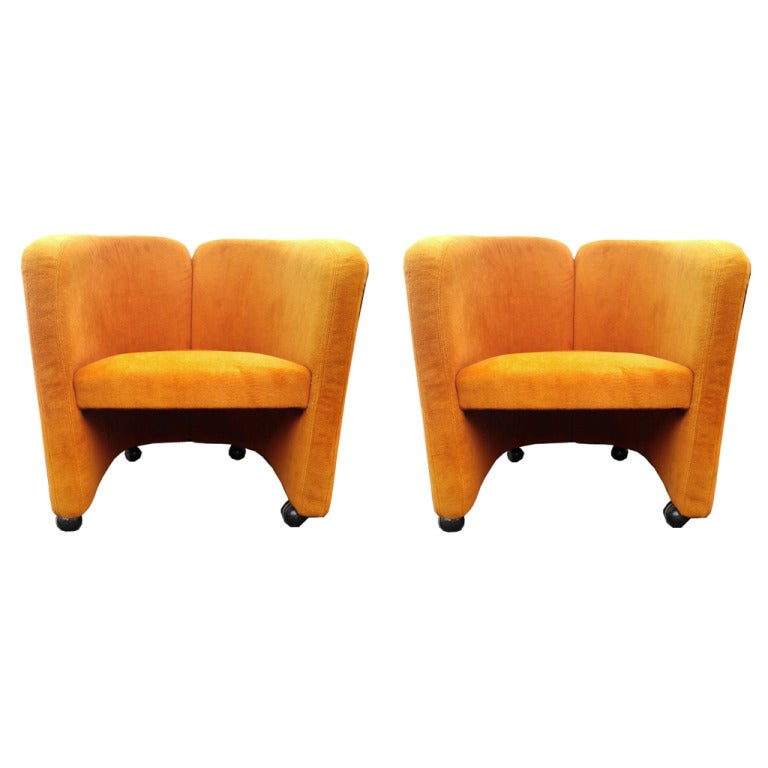 Pair of Mid Century Orange Lounge Chairs at 1stdibs