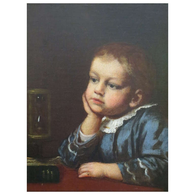 """19th Century Painting of """"Boy Gazing at Hour Glass"""" by Edwin T. Billings"""