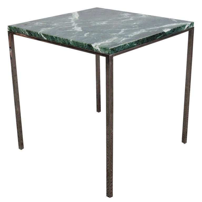Mid Century Square Steel Coffee Table With Black Marble: Midcentury Knoll Square Side Table With Green Marble Top