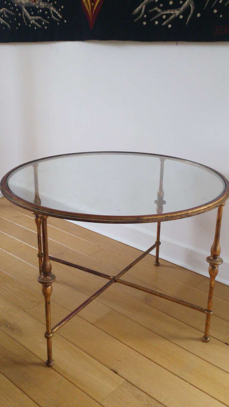 Vintage French Gilt And Red Enamel Occasional Table At 1stdibs