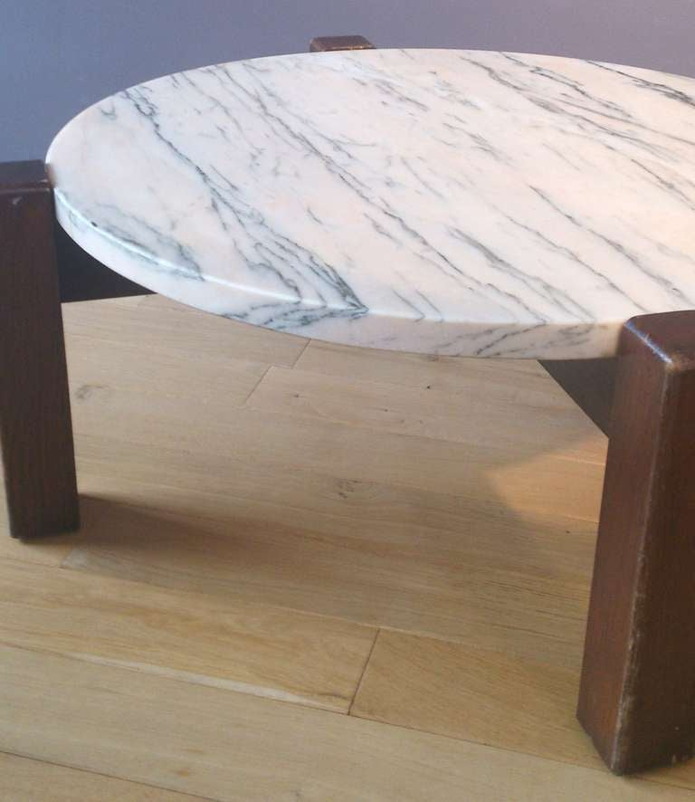 Mid Century Circular White Marble Coffee Table At 1stdibs