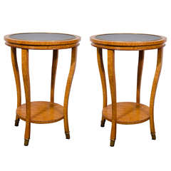 Contemporary Pair Of Burl Wood End Or Side Tables