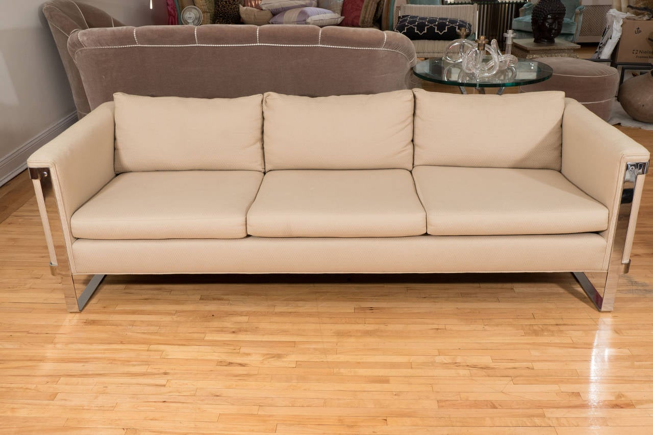 American Selig Midcentury Sofa with Chrome Plate Frame For Sale