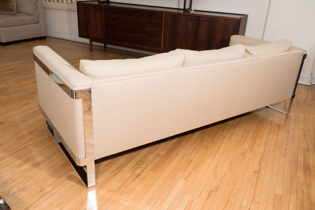 Plated Selig Midcentury Sofa with Chrome Plate Frame For Sale