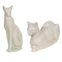 French Art Deco Ceramic Siamese Cat Sculpture