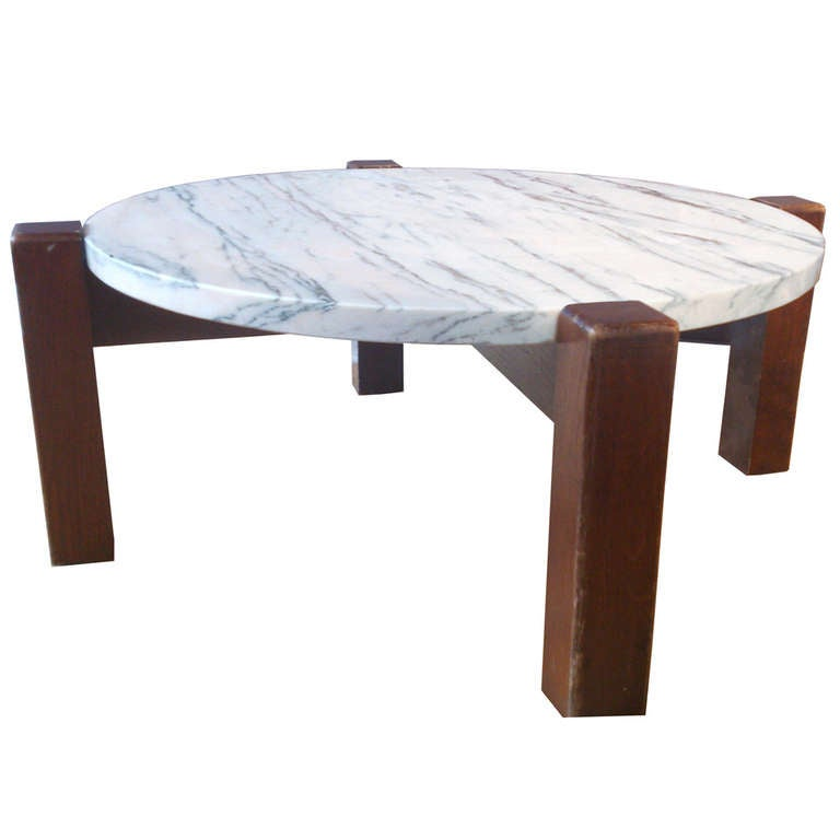 Mid century circular white marble coffee table at 1stdibs White marble coffee table