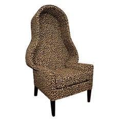 Hollywood Regency Leopard Print Canopy Chair