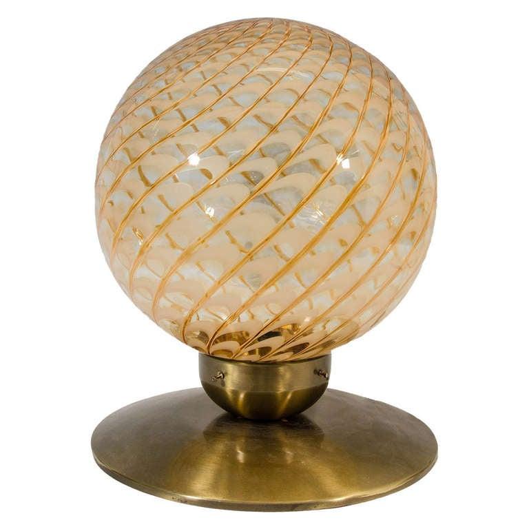 Mid Century Italian Blown Glass Globe Table Lamp Or