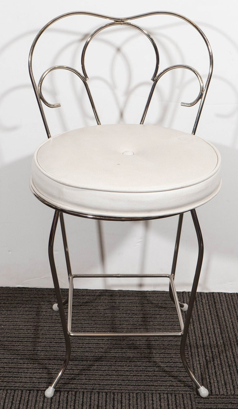 Pair Of Vanity Stools With White Seats By George Koch Sons