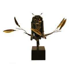 Metal Owl Brutalist Sculpture