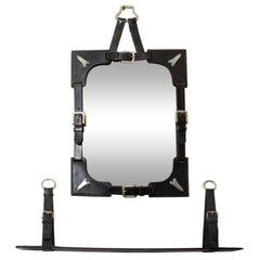 Mid Century Leather Frame Mirror and Shelf in the Manner of Adnet