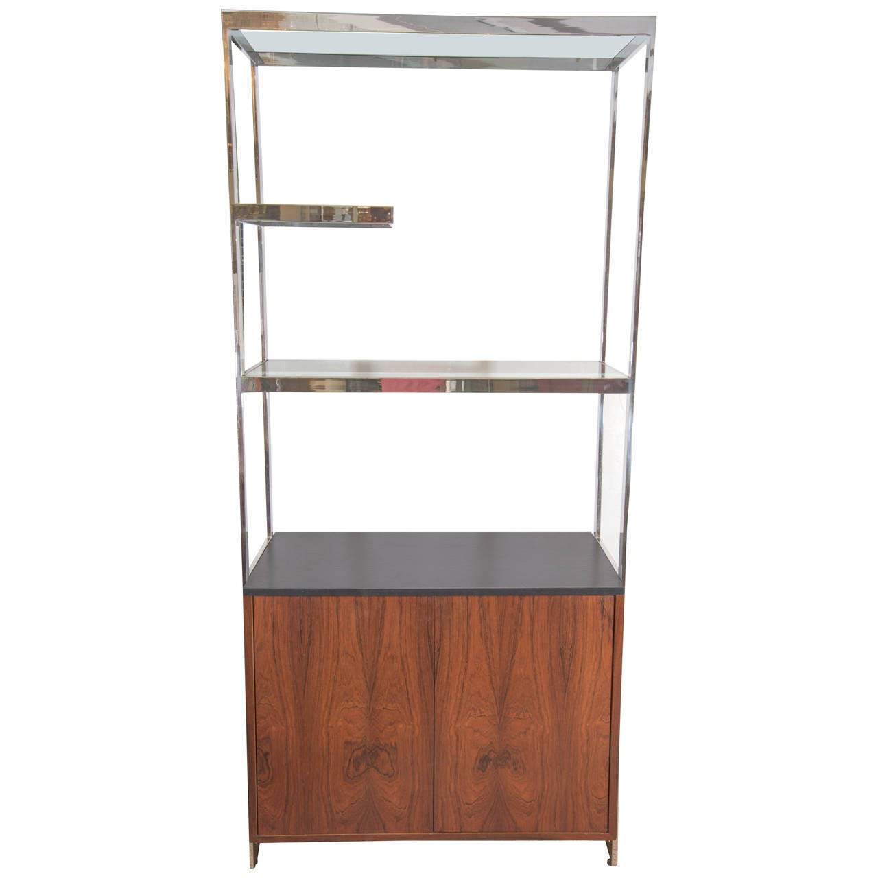 Milo Baughman Walnut Cabinet with Chrome and Glass Etagere