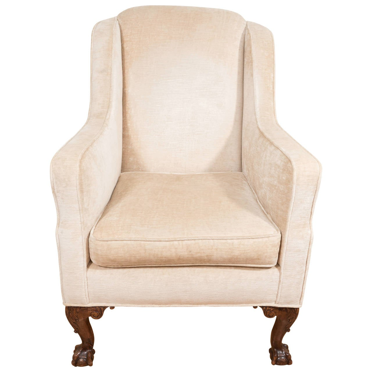 fireside wingback armchair with claw and ball feet in