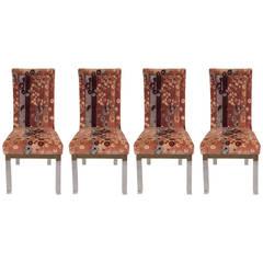 Set of Four Charles Hollis Jones Dining Chairs with Jack Lenor Larsen Fabric