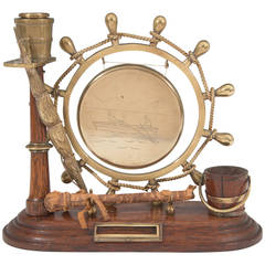 Victorian Late 19th Century Nautical Gong in Brass and Wood