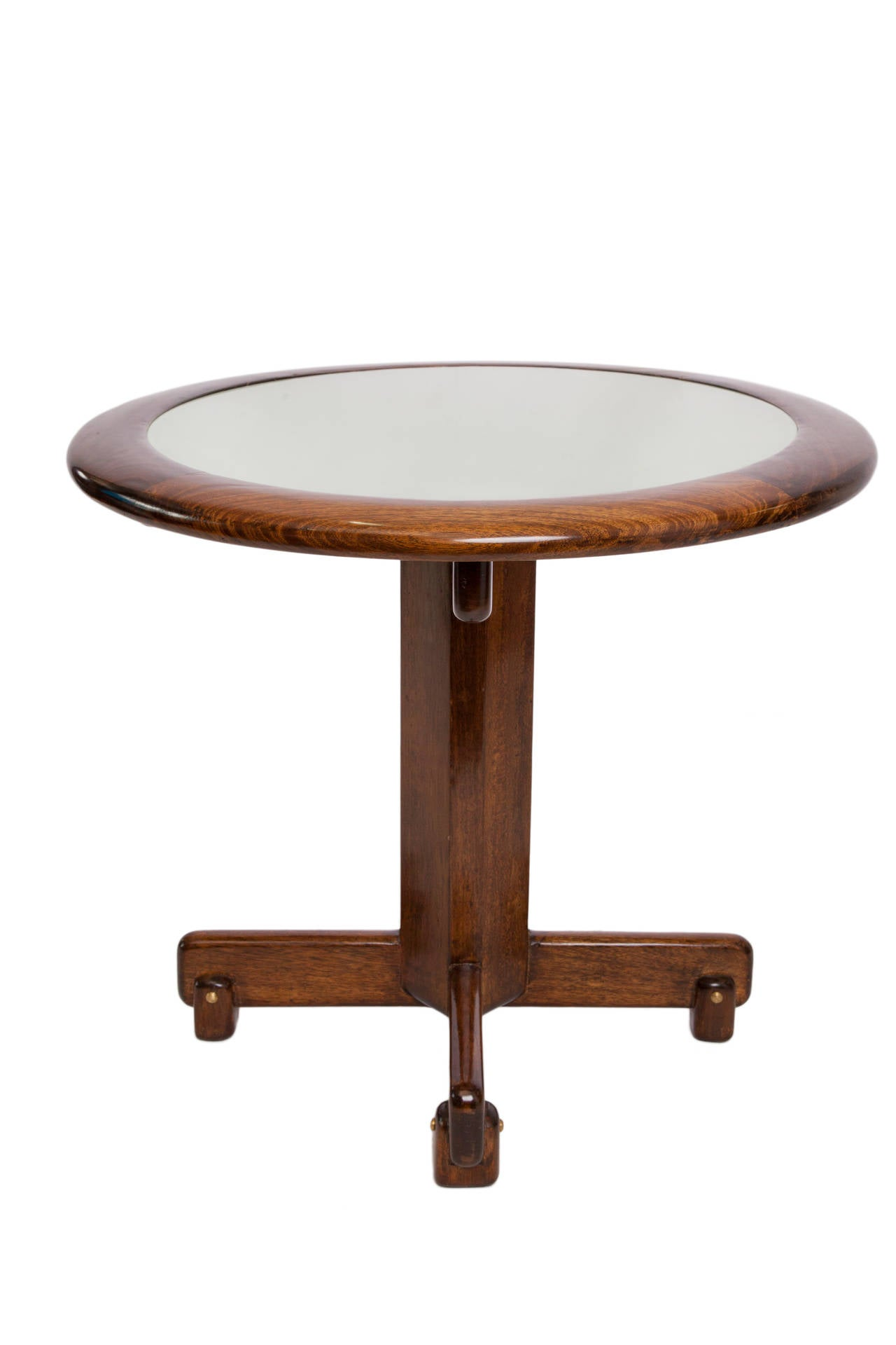 Celina Moveis Round Side Table In Brazilian Jacaranda Wood With Glass Top 2