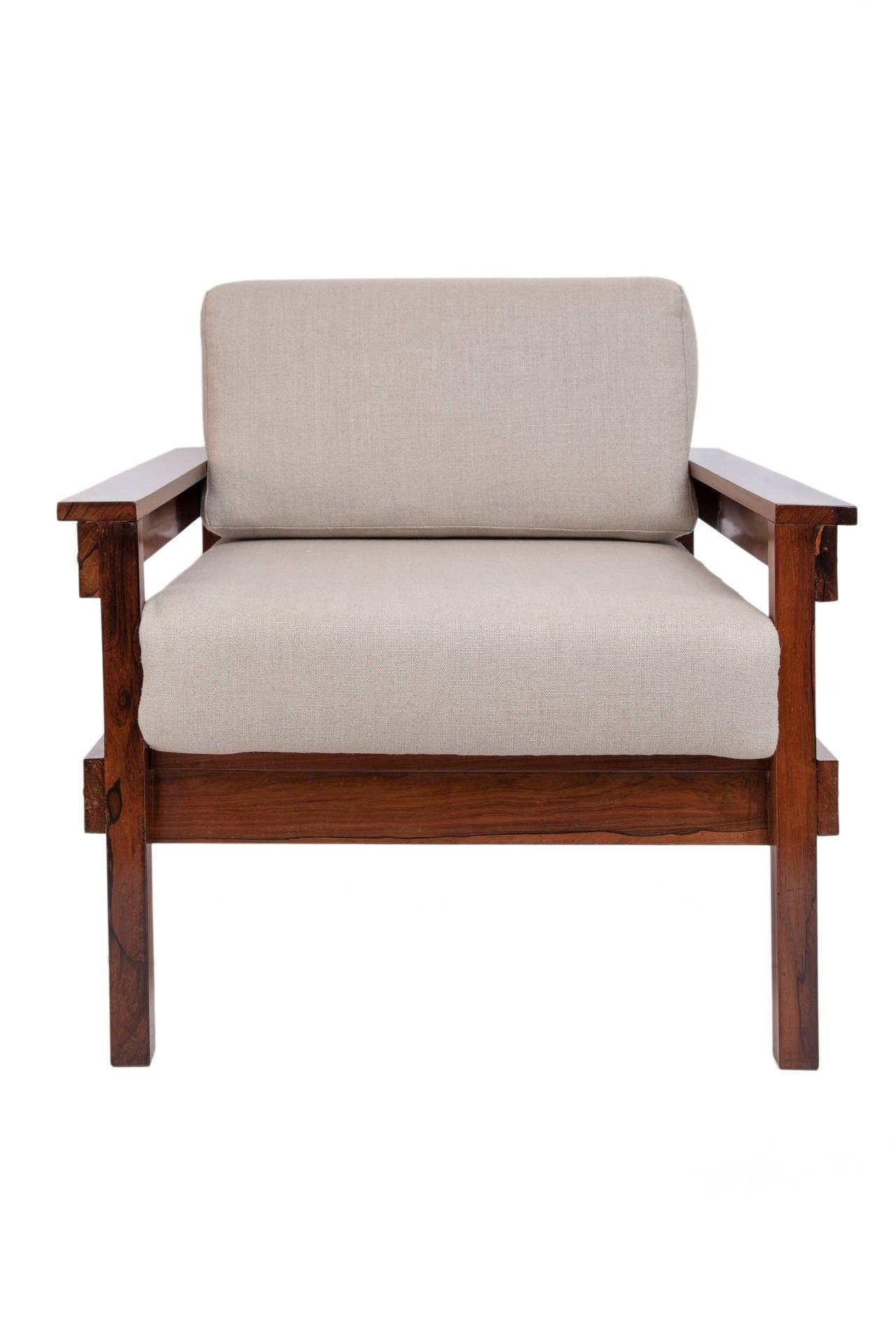Pair of Midcentury Brazilian Jacaranda Armchairs Upholstered in Beige Linen For Sale 1