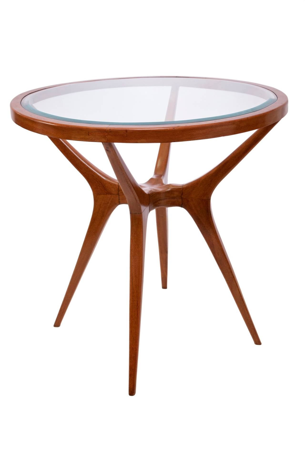 Perfect Scapinelli Inspired Round Glass Top Side Table In Brazilian Cumaru Wood 2