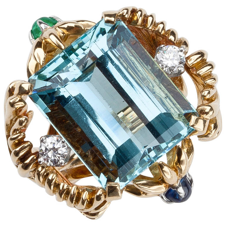 Tiffany And Co Jean Schlumberger Aquamarine Ring At 1stdibs