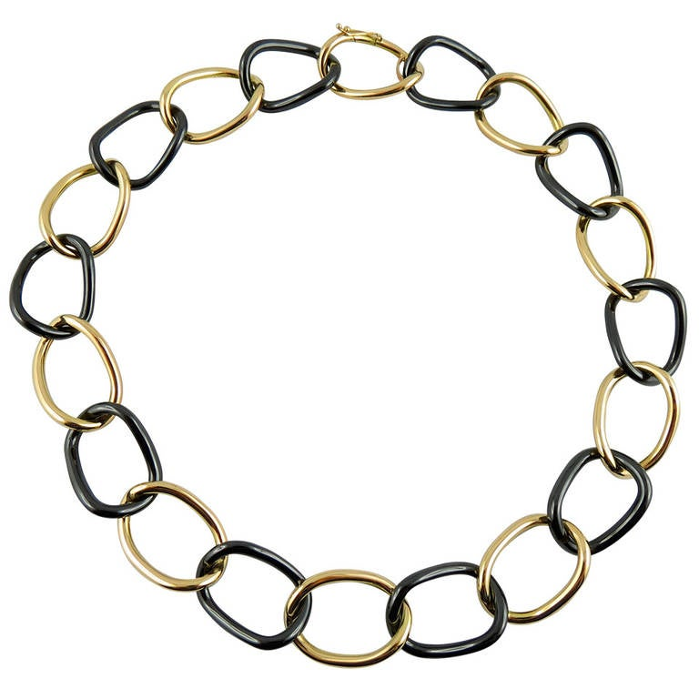 Jona 18k Yellow gold and High-Tech Black Ceramic Curb Link Necklace