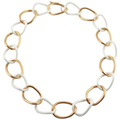Jona High Tech White Ceramic 18 Karat Gold Curb Link Necklace