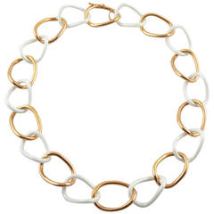 Jona High Tech White Ceramic Gold Curb Link Necklace