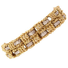 Diamond Gold Basketweave Bracelet