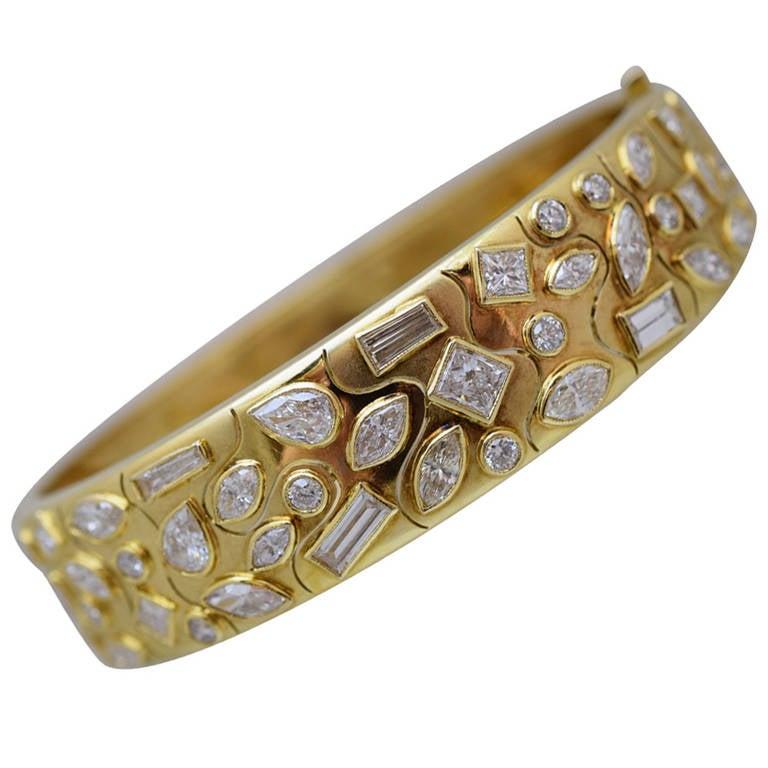 Fancy-Cut Diamond Bangle Bracelet